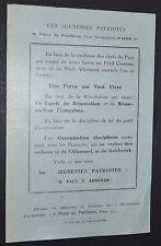 POLITIQUE FRANCE JEUNESSES PATRIOTES PIERRE TAITTINGER 1934 BULLETIN ADHESION