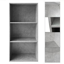 Bücherregal Betongrau 3 Fächer Wandregal Bücherschrank Bücherwand Aktenschrank