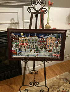 Theresa Prokop Original Folk Art Painting CHRISTMAS Holiday Village Scene 2002