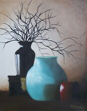 """"""" Vases with Twigs"""" original oil on stretched canvas, 14 x 18"""""""