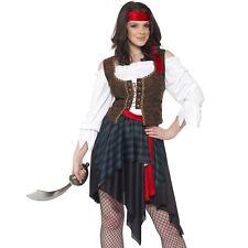 Ladies Pirate Fancy Dress Costume Caribbean Buccaneer Wench Captain Sailor
