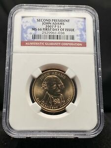 2007-P $1 John Adams Presidential Dollar NGC MS66 1st Day (3156)