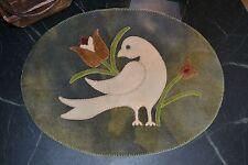 PRIMITIVE WOOL APPLIQUE PENNY RUG PATTERN BIRD FLOWERS ANTIQUE DESIGN *NEW*