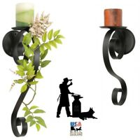 SCROLL PILLAR CANDLE SCONCE Wrought Iron Black Metal Holder in 2 Sizes AMISH USA