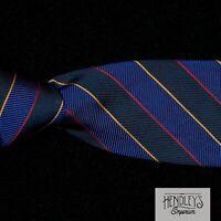 TURNBULL & ASSER Tie Gold Red Repp Stripes Navy Blue Indigo Silk Twill ENGLAND