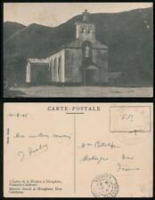 NEW CALEDONIA 1946 ARMY FM MILITARY MAIL PPC HIENGHENE MISSION CHURCH
