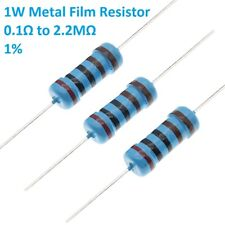 100pcs 1W Metal Film Resistors/Resistance ±1% 121 Values Available 0.1Ω to 2.2MΩ