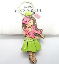 Coach Pink Hawaiian Hula Girl Flower Keychain Ring Key Fob 93159