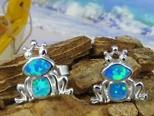 STERLING SILVER BLUE OPAL FROG STUD EARRINGS
