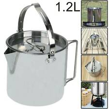 3Pcs Camping Cookware Set Stainless Steel Pot Frying Pan Steaming Rack M6P0
