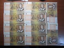 Johnston Stone $1.00 Paper Bank Notes Australian 10 notes Bulk Lot