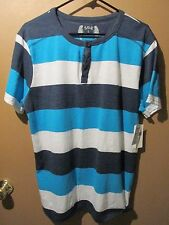 SGR Henly T-Shirt Men's Size L Blue White Striped NWT-   16-1399-M