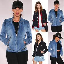 UK Womens Zipper Jean Denim Ripped Biker Ladies Biker Coat Outwear Tops Jacket