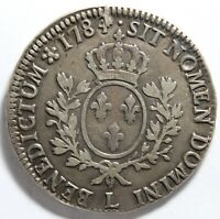 FRANCE LOUIS XVI ECU AUX BRANCHES D'OLIVIER 1784 L