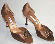 NEW Manolo Blahnik SEDARABY Pimps Satin Brown Jeweled Heels Peep Toe Shoes 39