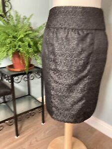 M&S 12 - Grey Silver Mix A-Line Short Skirt Above Knee Smart Casual Metallic
