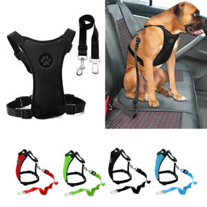 Mesh Car Dog Harness Seat Belt Clip Leash Soft Small to Large Dog Vest Black Red