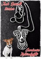 Jack Russell Dog Stylized Fashion Animal Antique Silver Pendant Chain Necklace