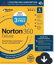 New Norton 360 Deluxe 5 Devices 15 months protection 2021  PC Mac  Fast Email