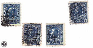 Canada: #111 5c Blue Admiral KGV Perfins (x4) LOT BT (Bell Telephone) F/VF Used