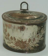 Lovely Vintage Silver Plated Copper With Floral Etchings Lidded Trinket Box