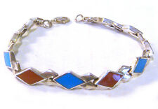 """TAXCO .925 Sterling Silver Coral & Turquoise Link Bracelet from Mexico 7.5""""L"""