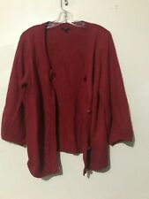 Talbots Size L Red Angora Rabbit Hair Cotton Bell Sleeve Cardigan Sweater Women