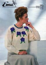 "~ Emu Knitting Pattern For Lady's Pansy Motif Sweater ~ Bust Sizes 32"" ~ 40""  ~"