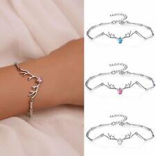 925 Silver Creative Elk Rhinestone Zircon Bracelet Christmas Bangle Women Xmas