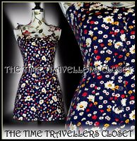 Kate Moss TopShop Rare Floral Ditsy Navy Blue Red Multi Festival Playsuit UK 6