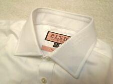 Thomas Pink Herringbone Twill 100% White Cotton Dress Shirt NWT 15 x 35/36 $185