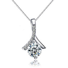 925 Silver Love in Heart Crystal Cubic Zirconia Chain Pendant Charm Necklace Box