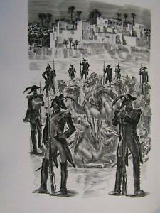 Albert Decaris / Composition gravée sur cuivre / Bagages, Outres, Chameaux