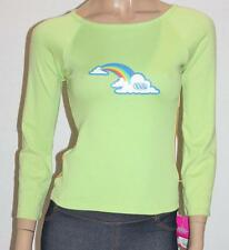 WEST Designer 80's Green Long Sleeve Lad Funky Rainbow Top Size XS BNWT #sY51