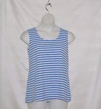 Bob Mackie Stripe Knit Tank Top Size S Blue