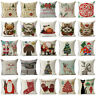 """18"""" Merry Christma Cotton Linen Throw Pillow Case Sofa Cushion Cover Home Decor"""
