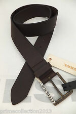 DIESEL Logo Leather Belt Men's Brown BERNEY-R Rustic Buckle Casual Belts BNWT