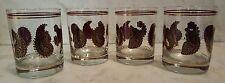 4 Vintage Cera Glasses Whiskey Tumblers Barware - Paisley w/ Maroon & Gold Trim