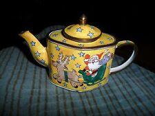 Cute PORCELAIN ENAMEL COPPER Mini Tea Pot W/ Santa & Rudolph Riding Shiegh