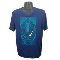 NIKE Dri-Fit Athletic Cut Football Graphic T-Shirt S/S Men's Large L Teal Blue