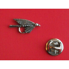 English Pewter Fish Fishing Small FLY Pin Badge Tie Pin / Lapel Badge (XTSBPF27)