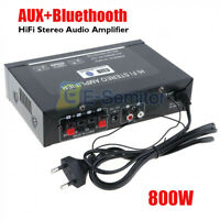 AUX + Bluetooth 800W HIFI Digital Stereo Audio Amplifier SD FM Radio Mic for Car
