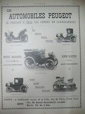 PUBLICITE DE PRESSE PEUGEOT LA VICTORIA LE TONNEAU VOITURETTE LANDAULET AD 1900