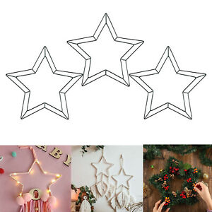 Metal Wire Wreath Frame Star-Shaped Garland Ring Hanging Holiday Wedding Decor