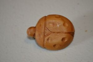 Herb Burgess Lady Bug Insect Wood Carved Americana Folk Art Brooch Pin VTG 70s