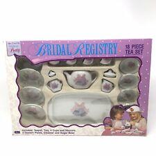 NEW 1992 18 Piece Child's Ceramic Tea Set Bridal Registry Wedding Bells NOS