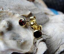 Ohrstecker Granat Stein / Blut rot 4mm 333er GOLD Gelbgold 8 Karat Z110