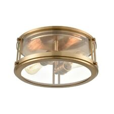 Elk Lighting 2-Light Flush Mount, Clear Glass, Satin Brass - 12122-2