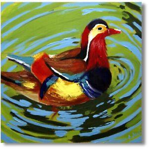 Vogel Ente Gemälde Kunst Acrylmalerei Wandbild Handarbeit Art Nr.1118