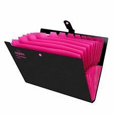 Expanding File Folder 12 Pockets Letter & A4 Docs Organizer Folder Black/Pink